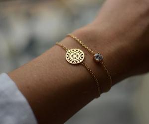 bracelet, gold, and style image