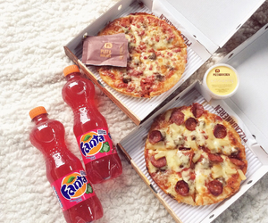 fanta, pizza, and food image