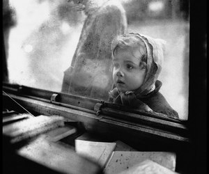black and white and kids image