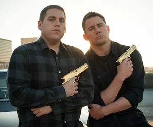 gun, jonah hill, and movie image