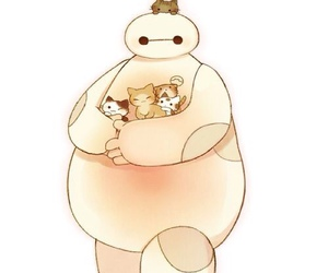 cat, baymax, and big hero 6 image