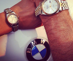 rolex, bmw, and couple image