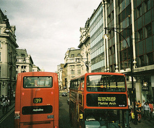 london, building, and bus image