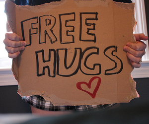 free hugs, heart, and sign image