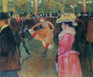 hat, pink dress, and toulouse lautrec image