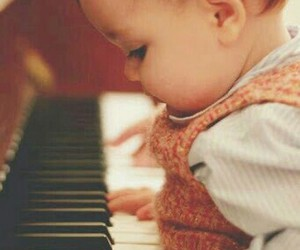 baby, piano, and cute image