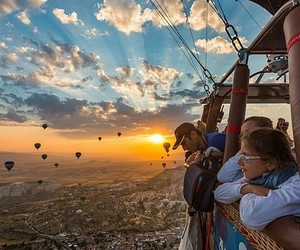 sky, balloons, and sun image