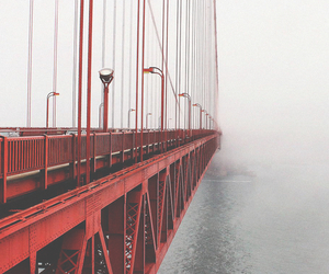 bridge, red, and sea image
