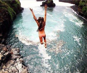 summer, girl, and jump image