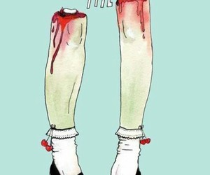 knees, legs, and blood image