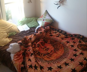 bedroom, bed, and hippie image