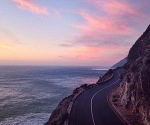 highway, landscape, and ocean image