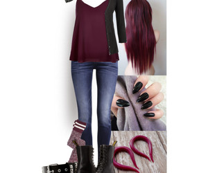 burgundy, fashion, and Polyvore image