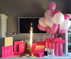 balloons, fashion, and presents image