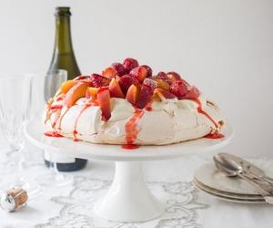 meringue, peach, and pavlova image