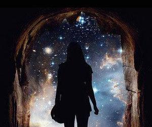 girl, galaxy, and stars image