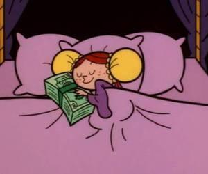 money, cartoon, and sleep image