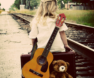girl, guitar, and bear image
