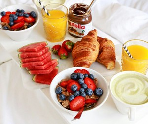 croissants, breakfast in bed, and nutella image