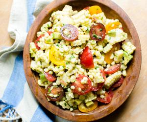 avocado, salad, and tomato image