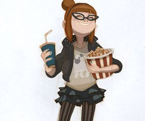 popcorn, girl, and draw image