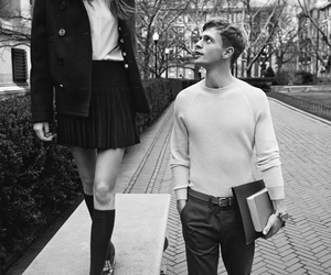 black and white, couple, and boy image
