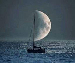 moon, boat, and sea image