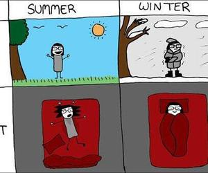 summer, winter, and funny image