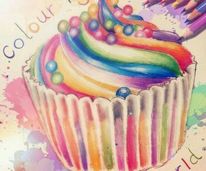cupcake, colors, and drawing image