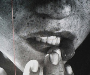 freckles, lips, and black and white image