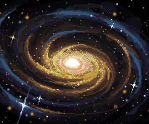 galaxy, pixel art, and space image