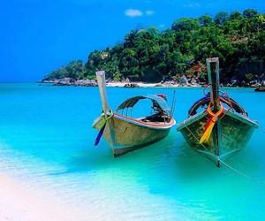boat, beach, and sea image