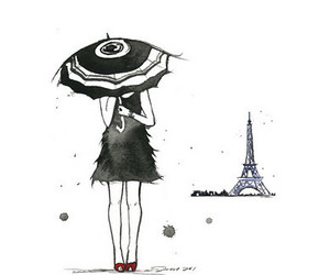 girl, paris, and drawing image