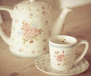 tea, vintage, and floral image