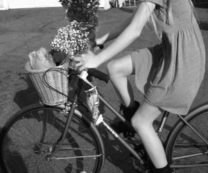 black and white, flowers, and bike image
