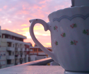 cup, sky, and sunset image