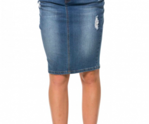 denim, high waisted, and skirt image