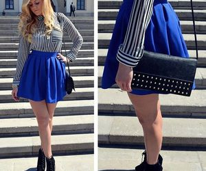 blue dress, booties, and fashion image