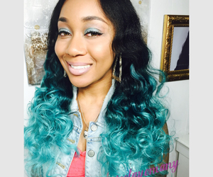 birthday girl, blue hair, and selfies image
