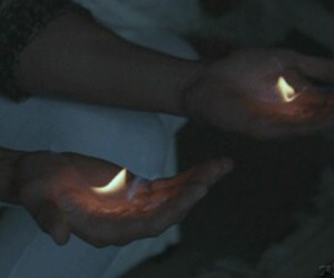 fire, hands, and grunge image