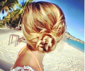 hair, beach, and girl image