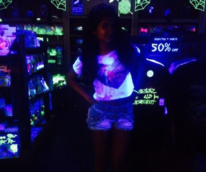 girl, glow in the dark, and neon image