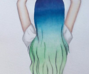 hair, blue, and heart image
