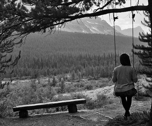 girl, swing, and nature image