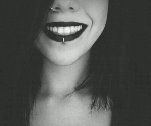 piercing, smile, and black image