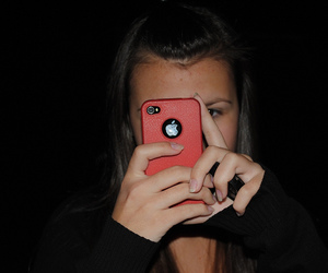 girl, iphone, and red image
