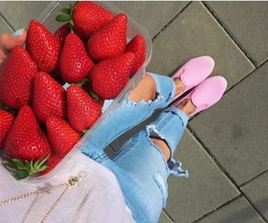 strawberry, fashion, and jeans image