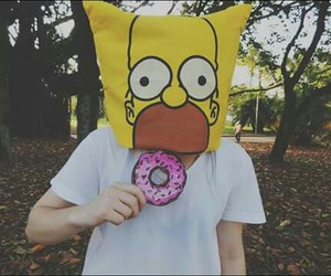 donut, hipster, and simpsons image
