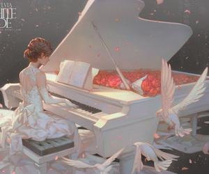 piano, anime, and anime girl image