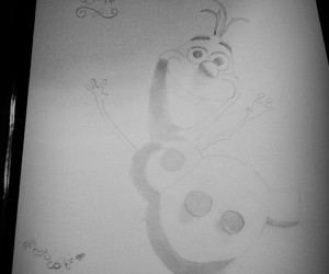black and white, frozen, and olaf image
